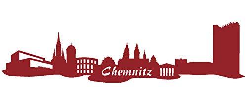Samunshi® Wandsticker Chemnitz Skyline Wandtattoo verschiedenen Größen und Farben lieferbar in 8 Größen und 25 Farben (190x47cm dunkelrot)