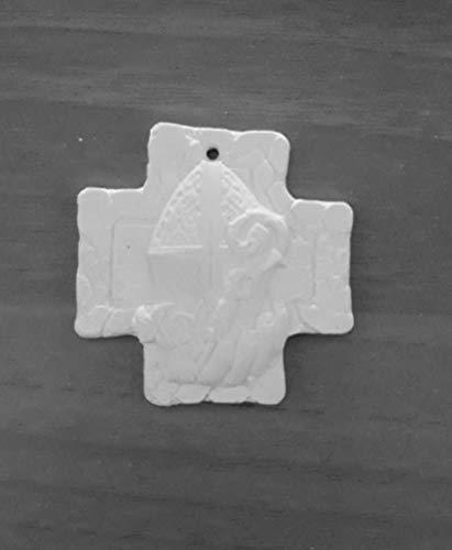 HC 12 Gessetti Artigianali a Forma di Croce con Foro per CRESIMA Mitra , Bomboniera, Segnaposto, chiudipacco, BOMBONIERE Sacramento - Idea Regalo