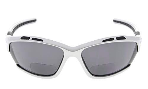 Eyekepper TR90 Unbreakable Sport Bifocal Sonnenbrillen Baseball Laufen Angeln Angeln Golf Softball Wandern Silver Frame Grey Lens +1.5