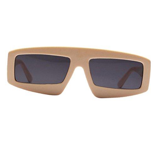 Sharplace Damen Herren Rechteckig Katzenaugen Voll-Rahmen Sonnenbrille UV-Schutz Brille Gläser Gespiegelte Linse - Beige