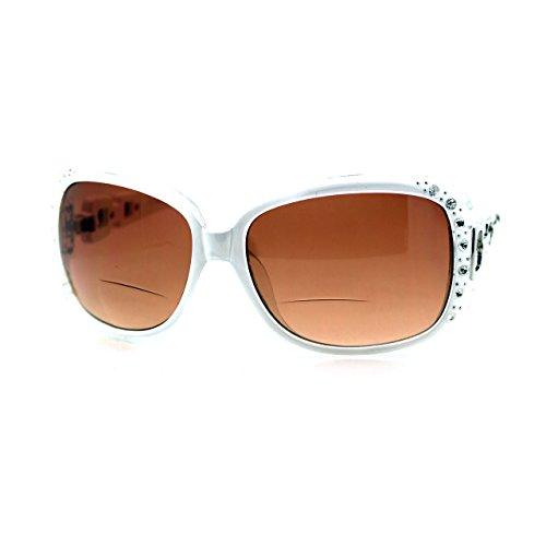 JuicyOrange Bifokalglas Sonnenbrille Übergroße Platz Strass Rahmen +3.50 3.5 49 Variationen Mittel Weiß