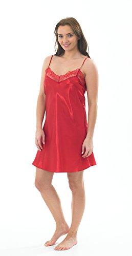 Marlon kurzes Chemise/Unterkleid/Nachthemd für Damen aus Satin & Spitze,  mit einem Paar Strumpfhosen Gr. 30 cm- 91 cm, rot (Kurze Damen Chemise)