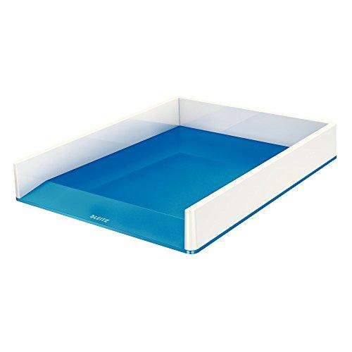 Leitz, A4 Briefablage, Weiß/Metallic Blau, WOW, 53611036 (Die Korb Organisation)