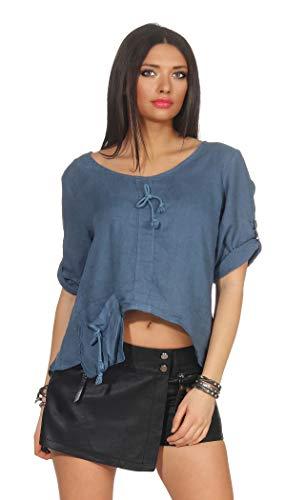 296 Damen Leinenshirt locker Freizeitshirt 100% Leinen Tshirt Uni elegant Bluse Oberteil Jeansblau L