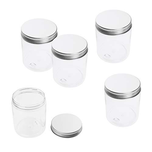 B Baosity 5pcs 250 ml Pot Vide Rond Plastique Transparent avec Couvercle Cosmetic Container Rangement pour Crèmes Stockage Onguents Toners - 250 ml 68x85 mm