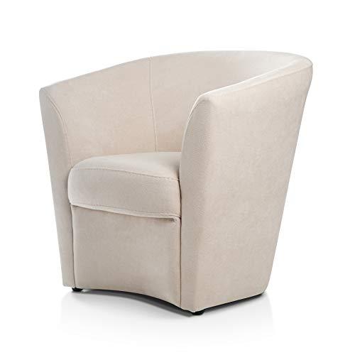 Butaca descalzadora beige. Sillón relax con estructura de madera de pino. Butacas para dormitorio moderno. Mueble de salon con patas de goma antideslizante. Silla salon o silla de espera.