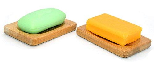 Porte-savon en bambou naturel fait à la main - Pour une éponge, une brosse ou un savon, Bambou, Lot de 2