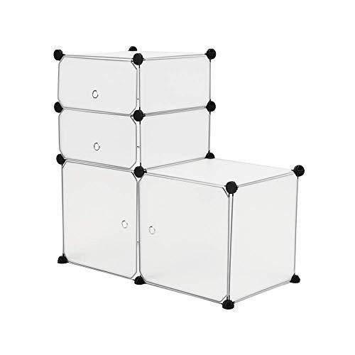 PrimeMatik - Armario Organizador Modular Estanterías de 4 Cubos de 35x35cm 17x35cm plástico Blanco con Puerta