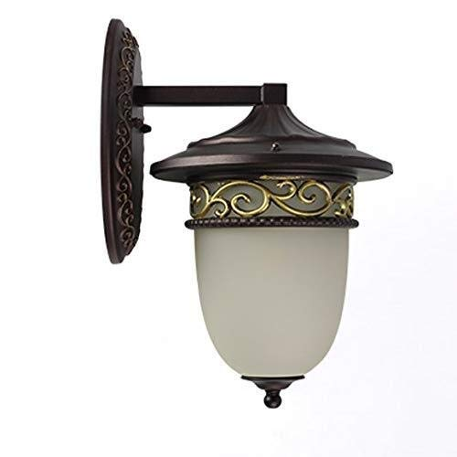 Yikuo Wandlampe, Europäische Glaswandlampe Im Freien, Aluminiumwandlampe, Balkon, Treppe, Garten, Landhauswandlampe, Größe: 20 * 35cm, E27 * 1 Elegant und schön - Wand-lampen-schnur-abdeckungen