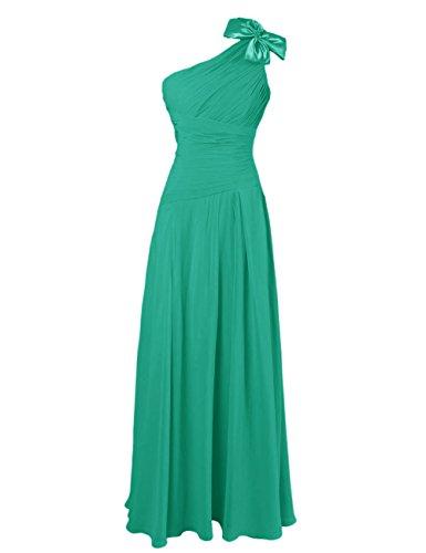 Dresstells, Robe de soirée Robe de cérémonie Robe de demoiselle d'honneur épaule asymétrique une ligne avec fleur Vert