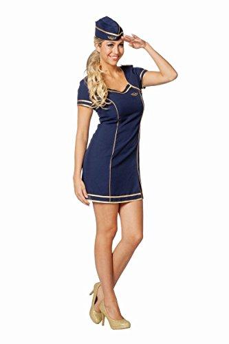 (Damen Kostüm Stewardess Flugbegleiterin blau Karneval Fasching Gr.36)