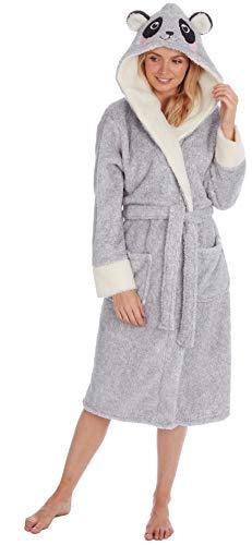 KATE MORGAN Damen-Bademantel mit Kapuze, weich und gemütlich Gr. Small, Grey Panda
