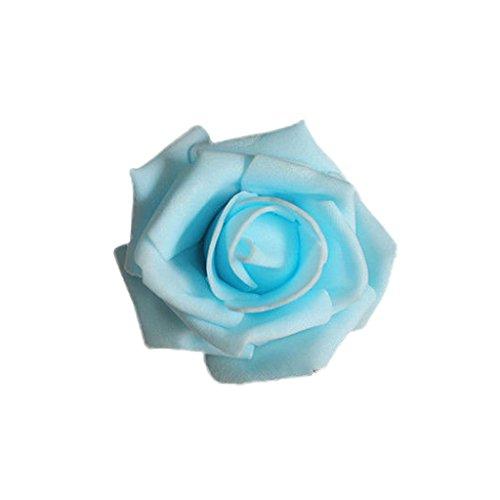50x Foamrosen Schaumrosen Schaumköpfe Künstliche Blume Brautstrauß Party Hause Dekor Rosen Rosenköpfe - Hell Blau (Brautstrauß Blau)