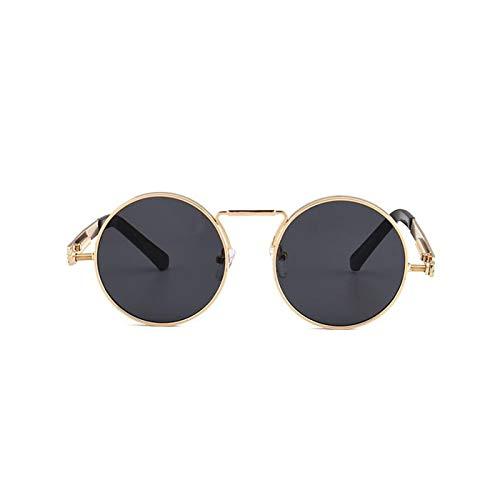 Daawqee Round Circle Steampunk Sunglasses Men Women Vintage Retro Sunglass Mirror Lens Luxury Quality Eyeglasses UV400 C06 Gold Black