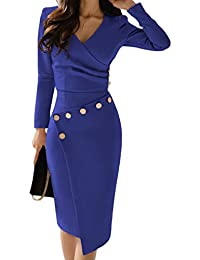 Asvivid Women Vintage V-Neck Breasted Pencil Dresses Work Business Cocktail Party Bodycon Size 8-22