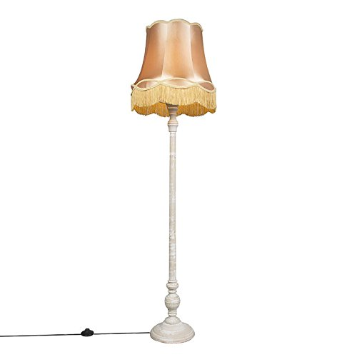 QAZQA Retro Stehleuchte / Stehlampe / Standleuchte / Lampe / Leuchte Classico grau mit Schirm Granny 45 cm Gold / Messing / Innenbeleuchtung / Wohnzimmer / Schlafzimmer / Küche Holz / Textil / Rund LED geeignet E27 Max. 1 x 40 Watt