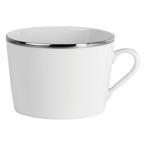 DEGRENNE - Galon platine lot de 6 tasses à déjeuner , porcelaine de Limoges - Blanc