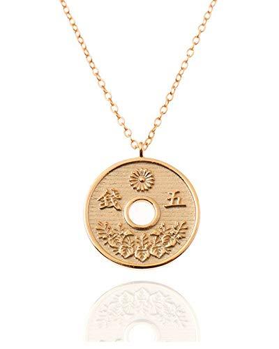 Malizzia Halskette Anhänger Damen Mädchen Japan Münze 925 Silber vergoldet 18 kt.