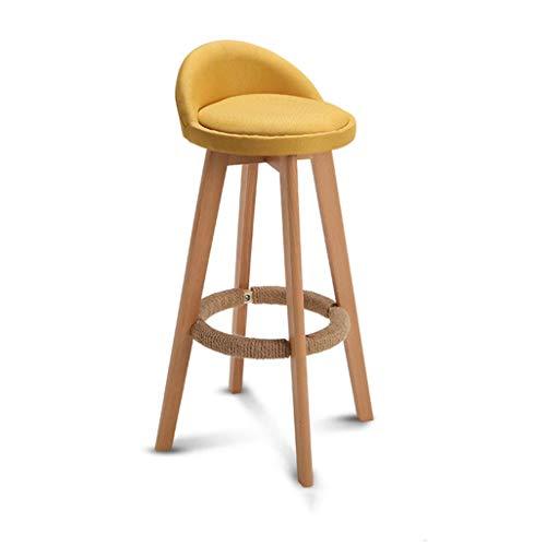 Bar-stuhl-seat-kissen (Barhocker Hanfseil Fußschemel PU-Kissen Rotierende Sitzlehne Esszimmerstuhl Küche Bar Café Holz Beine Max Last 150 Kg JINRONG (Color : Yellow, Size : Seat Height:63cm))