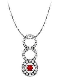 One Carat Ruby and Diamonds Graduated Circle Pendant