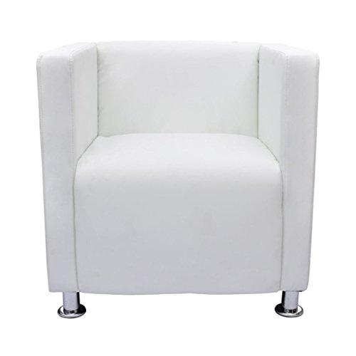 vidaXL Fauteuil Design de Cube Cuir Synthétique Blanc Chaise Sofa Salon