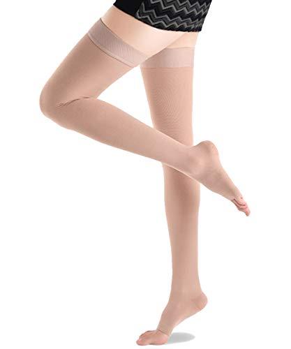 Medias de compresión Ailaka abiertas de 20 – 30 mmHg para mujeres y hombres, firme apoyo graduado varices calcetines, viajes, Casual-Formal Hosiery
