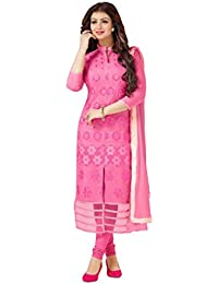 48e83296f2 Shree Vardhman Women's Pink Cotton Embroidered Unstitched Salwar Suit Dress  Material salwar suit for women