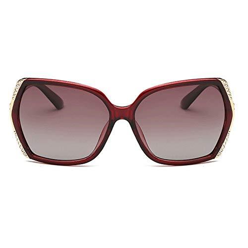 Easy Go Shopping Elegante Sonnenbrille uv400 braun lila Damen polarisierte gläser Platz Big Box Fahren Sonnenbrille Fahren Sonnenbrillen und Flacher Spiegel (Farbe : Brown)