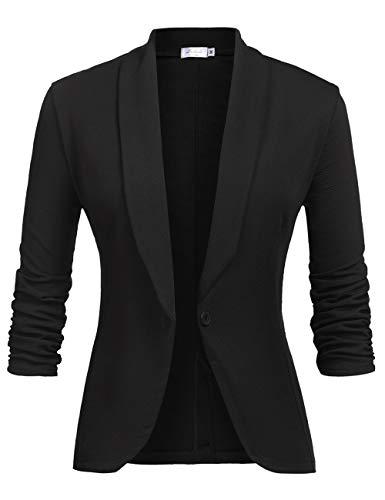 LaLaLa Damen Cardigan Elegant Blazer Langärmliger Anzugjacke Einfarbig Blazer Business Slim Fit Bolero Jacke Anzug Trenchcoat Schwarz S