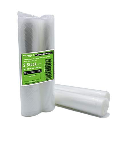 Vakuumier-Beutel für Lebensmittel 2 Rollen 30x600 cm geprägt goffriert VacuNo.1 Vakuumbeutel geeignet für Caso, Lava, Allpax, Valko, Gastroback