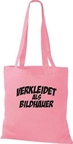 ShirtInStyle Stoffbeutel Karneval verkleidet als Bildhauer, Kostüme verkleiden, viele Farben rosa