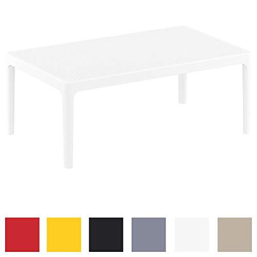 CLP Table Lounge Sky - Table de Jardin Résistante aux Intempéries et aux Rayons UV - Table de Jardin en Plastique - Couleur au Choix : Blanc