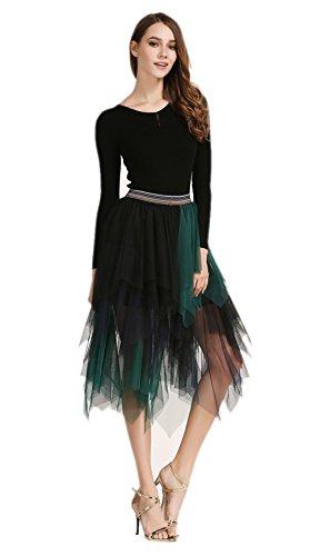 Stil Halloween Kostüme 50er Jahre (Honeystore Damen's 50er Petticoat Unterrock Vintage Underskirt Crinoline Wedding bridal Petticoat für Rockabilly Kleid Grün Blau und Schwarz One)