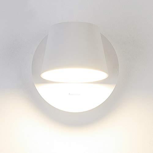 LANBOS Moderno 6W Lampade da parete con Luce di Lettura,lampada da comodino,con Interruttore,orientabili,per soggiorno e camera da letto,3000K bianco caldo (Bianco-1 luci)