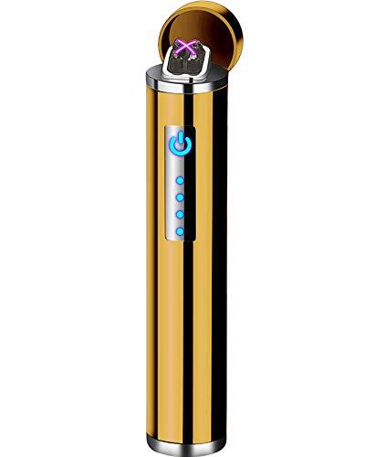 Gold Eis (Auratrio Y14 Elektro Lichtbogen Feuerzeug Plasma Arc Lighter aufladbar Touchscreen elektronisch, Windundurchlässiges Flamess für Küche, Grill, Kerzen und Zigaretten (EIS-Gold))