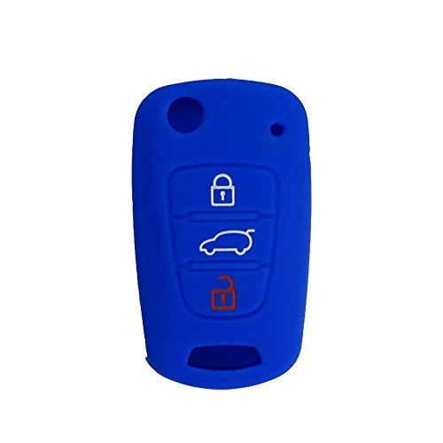 Nicky Azul Funda de Silicona para Hyundai Kia 3 Botones Llave Plegable Cubierta de Control Remoto Automático