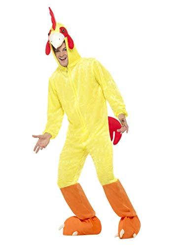 Smiffys, Unisex Huhn Kostüm, Jumpsuit mit Kapuze, Größe: M, 32920