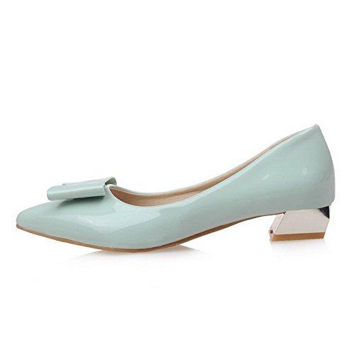 Damen Ziehen auf Spitz Zehe Niedriger Absatz Rein Pumps Schuhe, Grün, 38 AllhqFashion