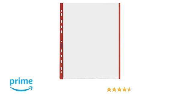 Confezione da 10 Pz. Favorit 100460030 Busta a Foratura Universale con Bordo Rosso Formato Interno A4 Finitura Buccia Darancia