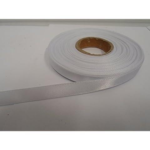 1 rotolo di nastro di raso 10 millimetri x 25 metri, bianco, doppia faccia, 10 mm 10mm