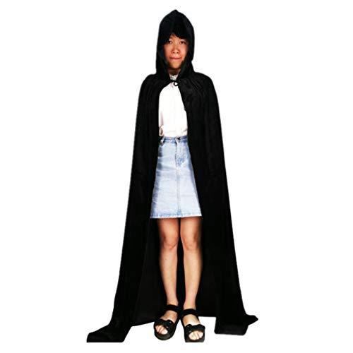 Black Velvet Hexe Kostüm - ruiruiNIE Erwachsenen Mantel Solide Velvet Hooded Vampire Umhang Einfarbig Lange Halloween Cape Devil Hexe Cosplay Maskerade - Black-130CM