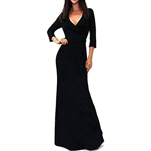 Jupe Longue, Kingwo Femmes solides Col en V 3/4 Manche Emballage Taille Longue Robe (XL, Noir)