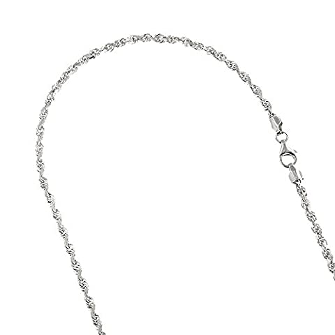 Solid 14K White Gold 3mm Wide Rope Chain Diamond Cut