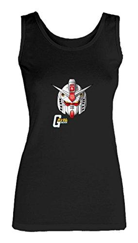 Social Crazy Canotta Donna Cotone Basic Super Vestibilità Top Qualità - Gundam Head - Novità VIP Humor Divertenti Made in Italy Nero