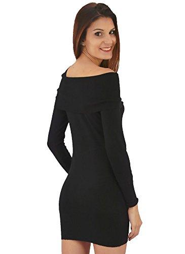 Robe Tunique Col Bateau Noir Noir