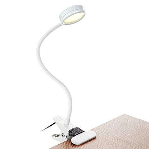 Clip Light Eye Schutz Wechselrahmen Book Light LED Lesung Schreibtisch Lampe Klemme auf Lichter für Bett neben 3W 3Farben dimmbar USB geladen mit flexibler Schwanenhals Modern weiß (Ac-durchfluss-schalter)