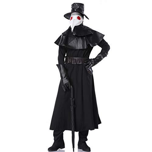 Plague Doctor Kleidung|Enthält Hut&Maske+Handschuhe&Gürtel&Kragen&Kopfbedeckung Halloween Scary Mittelalter Pest-Maske Dreams Gothic Mittelalter Party Fasching Cosplay Karneval