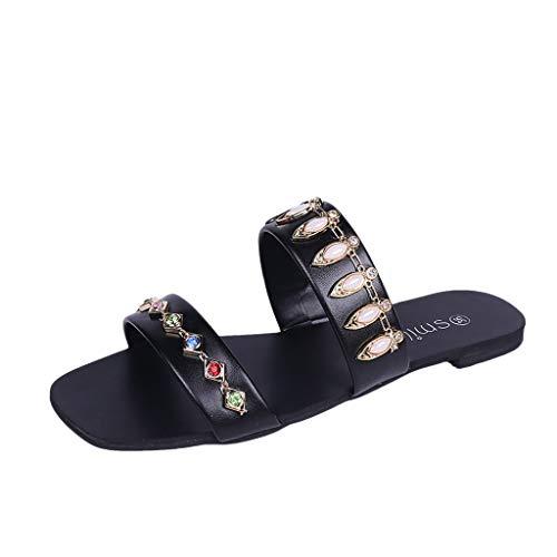 Fenverk Damen Elastische Sandalen Sommer Zehentrenner Pantoletten Mit KorkfußBett Sportliche Praktische Arbeitsschuhe Aus Leder(Schwarz 2,39 EU)