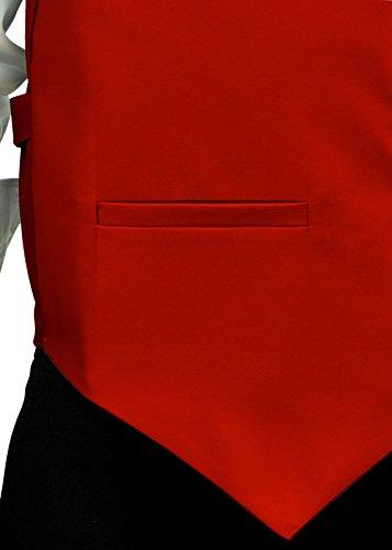Retreez, gilet da uomo in tessuto, a tinta unita, con cravatta e papillon inclusi, set regalo Red