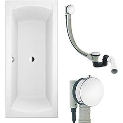 AQUABAD® KOMPLETTSET - Badewanne AURELIO 180x80 cm + Träger + Premium Ablaufgarnitur Chrom mit Wannenbefüllung (Strahl)